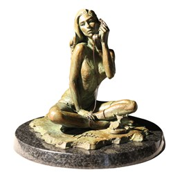 Black Phone II by Fabian Perez - Limited Edition Bronze Sculpture sized 10x10 inches. Available from Whitewall Galleries